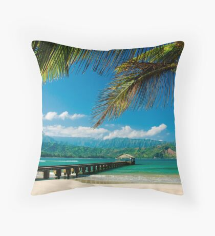 Hanalei Bay Pier,  Kauai Throw Pillow