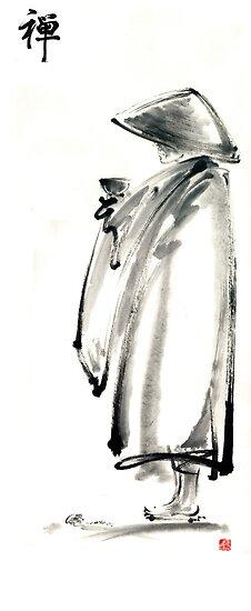 Buddhist monk with a bowl zen calligraphy 禅 original ink painting artwork by Mariusz Szmerdt