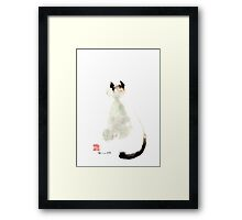 Meow curious cute kitten little cat watercolor painting funny cats Framed Print