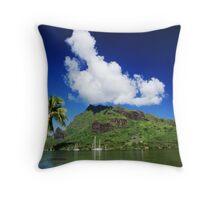 Scenic View in Moorea, French Polynesia Throw Pillow