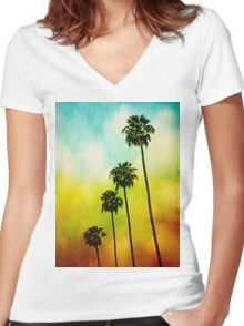 4 Palms Women's Fitted V-Neck T-Shirt