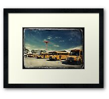 Yellow school buses photographed in Kodachrome Framed Print