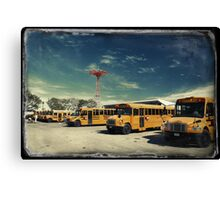 Yellow school buses photographed in Kodachrome Canvas Print