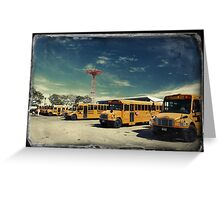 Yellow school buses photographed in Kodachrome Greeting Card
