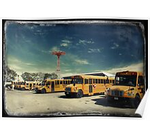 Yellow school buses photographed in Kodachrome Poster