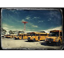 Yellow school buses photographed in Kodachrome Photographic Print