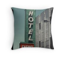Las Vegas Hotel Neon Sign in Kodachrome Throw Pillow