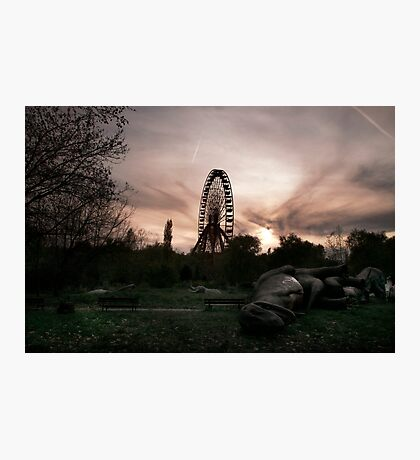 Abandoned fun fair, amusement park in East Berlin Photographic Print