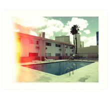 Pink Motel with swimming pool in Kodachrome Art Print