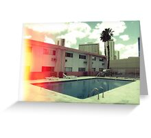 Pink Motel with swimming pool in Kodachrome Greeting Card