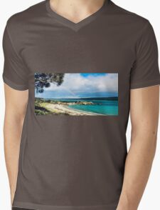 Rainbow on Beach Mens V-Neck T-Shirt
