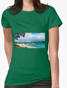 Rainbow on Beach Womens Fitted T-Shirt