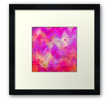 BOLD QUOTATION, Revisited - Intense Raspberry Peachy Pink Vibrant Abstract Watercolor Ikat Pattern Framed Print
