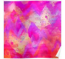 BOLD QUOTATION, Revisited - Intense Raspberry Peachy Pink Vibrant Abstract Watercolor Ikat Pattern Poster