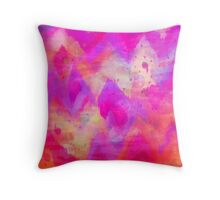 BOLD QUOTATION, Revisited - Intense Raspberry Peachy Pink Vibrant Abstract Watercolor Ikat Pattern Throw Pillow