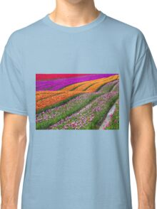 Monet Alive-colorful tulip field waves Classic T-Shirt