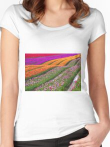 Monet Alive-colorful tulip field waves Women's Fitted Scoop T-Shirt
