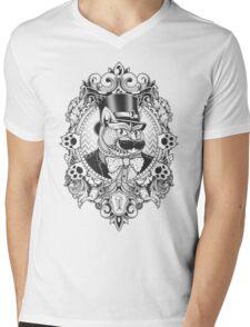 Hipster Mustache Cat Mens V-Neck T-Shirt