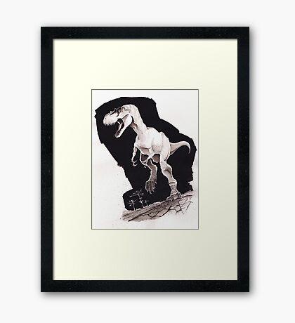 Sprinting Gorgosaurus libratus (Sepia) Framed Print
