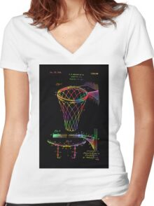 Basketball goal vintage patent 1924 Women's Fitted V-Neck T-Shirt