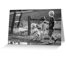 Three Kids Three Kars Greeting Card