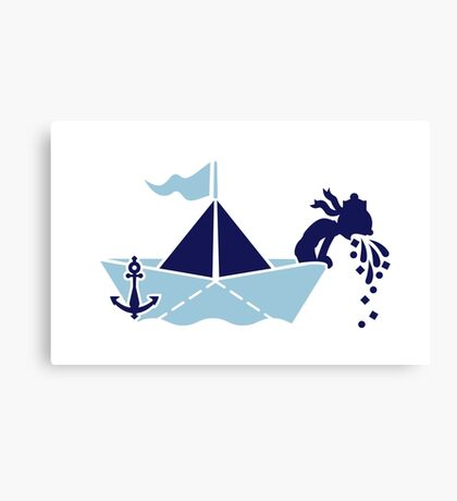 Seasick: Barfing Sailor on a Paper Boat VRS2 Canvas Print