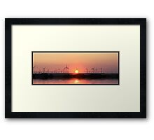 Sunset and windmills  Framed Print