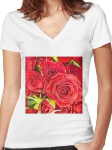 Red roses for love and romance Women's Fitted V-Neck T-Shirt