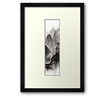 Mountain view sky snow and clouds landscape sumi-e original ink painting Framed Print