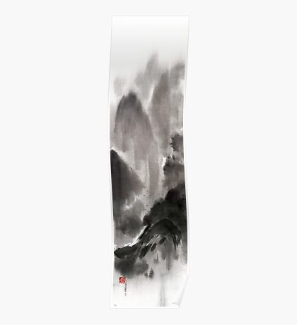 Mountain view sky snow and clouds landscape sumi-e original ink painting Poster