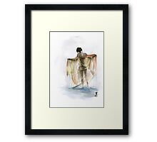 Japanese nude geisha woman wearing asian oriental colorful kimono original watercolor painting  Framed Print