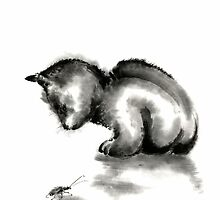 Funny cute little black cat and beetle Japanese sumi-e original ink painting art print by Mariusz Szmerdt