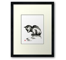Funny cute little black cat and beetle Japanese sumi-e original ink painting art print Framed Print