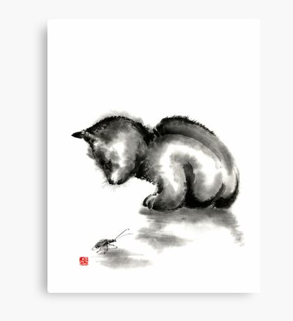 Funny cute little black cat and beetle Japanese sumi-e original ink painting art print Canvas Print