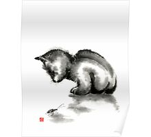 Funny cute little black cat and beetle Japanese sumi-e original ink painting art print Poster