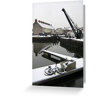 Snowfall, Bridgwater Docks. Greeting Card
