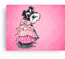 Girly Schnauzer Pink Dress Canvas Print