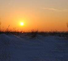 Sunset along Lake Michigan at Silver Beach - 2 by Debbie Mueller