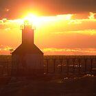Sunset on Lake Michigan at St Joseph North Pier - 5 by Debbie Mueller