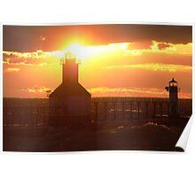 Sunset on Lake Michigan at St Joseph North Pier - 5 Poster