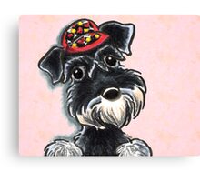 Schnauzer Baby Ball Cap Canvas Print