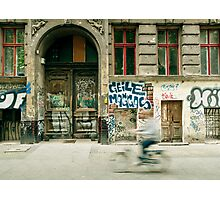 Bike riding through the streets of Berlin  Photographic Print