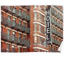 Facade of the Chelsea Hotel with neon sign  Poster