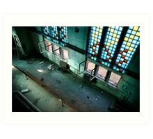 Incredible industrial interior with huge floor - to - ceiling colored windows Art Print