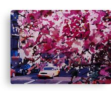 Cab and Flower Trees in New York City Canvas Print