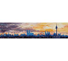 Munich Skyline at Dusk with Alps Photographic Print