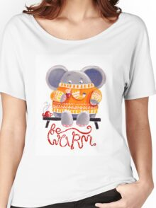 Be Warm! - Rondy the Elephant in his favorite sweater Women's Relaxed Fit T-Shirt