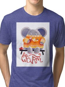 Be Warm! - Rondy the Elephant in his favorite sweater Tri-blend T-Shirt