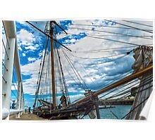 Tall Ship in Port Poster