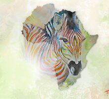 Rainbow Zebra by ArtByRuta